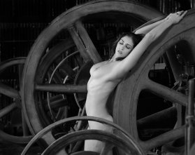 Beautiful woman, with wheels